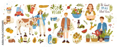 Fotografia Collection of organic eco vegan products - natural cosmetics, vegetables, fruits, berries, tofu, nut butter, soy and coconut milk