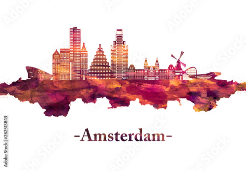 Wallpaper Mural Amsterdam Netherlands Skyline in Red