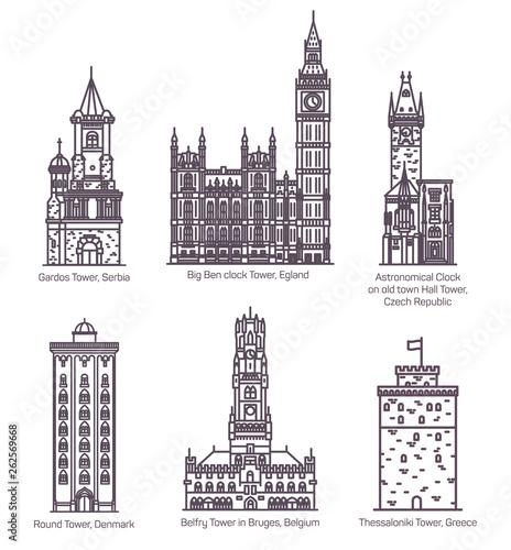 Fotografija Set of isolated famous castle with landmark towers
