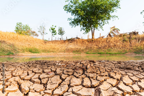 Photo Cracked soil in the pond in summer season, drought in Thailand, climate change