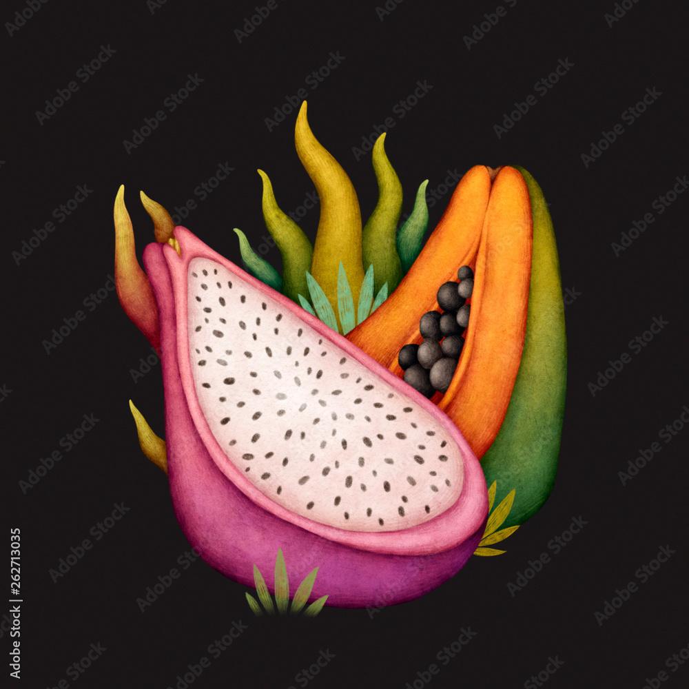 Exotic fruits. Tropical fruits. Dragon fruit and papaya