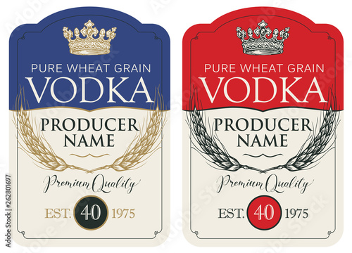 Set of two vector labels for vodka in the figured frame with crown, ears of wheat and inscriptions in retro style Fototapeta