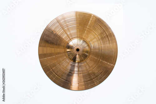 Stampa su Tela Drum plate, drum set on a white background, musical cymbals top view