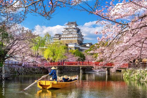 Fototapeta premium Zamek Himeji i kwitnące wiśnie wiosną, Japonia.