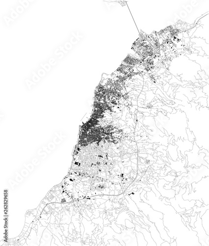 Obraz na plátně Satellite map of Patras, it is Greece's third-largest city and the regional capital of Western Greece
