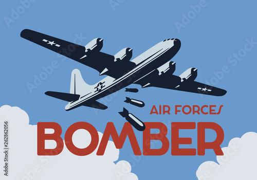 Fényképezés World war 2 bomber aircraft. Vector illustration.