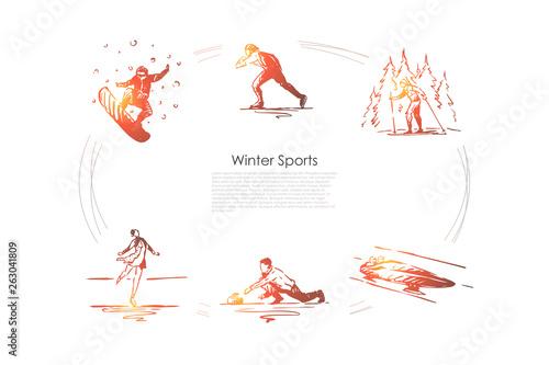 Winter sports - snowboard, skating, skiing, figure skating, bobsleigh, curling v Fototapete