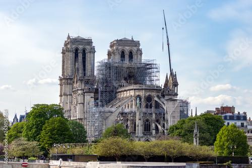 Fotografie, Obraz Paris, France - April 17, 2019: Notre Dame de Paris, the day after