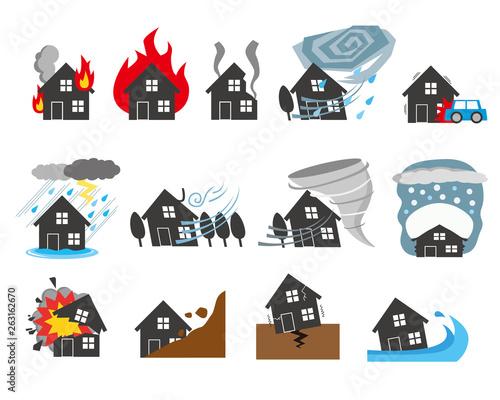 Canvas Print 自然災害 イメージ 住宅 保険 マイホーム シルエット