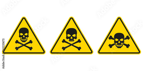 Valokuva Hazard or warning sign set with skull and bones