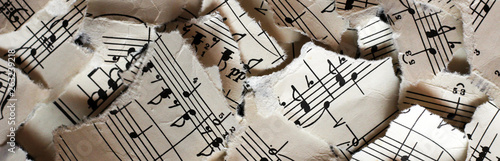 Fotografie, Obraz Torn musical notes, pieces of paper