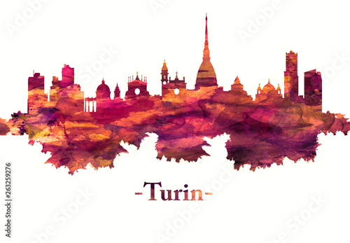 Stampa su Tela Turin Italy skyline in red