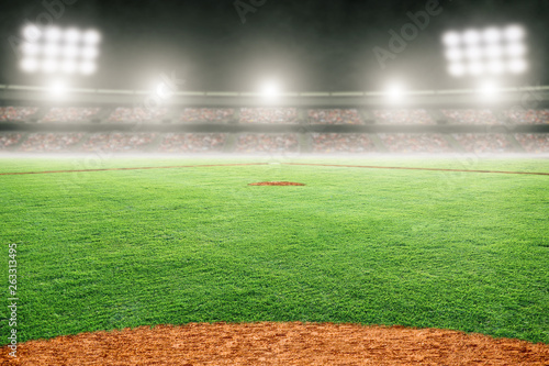 Canvas Print Baseball Field in Outdoor Stadium With Copy Space