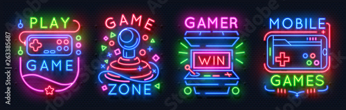 Leinwand Poster Neon game signs