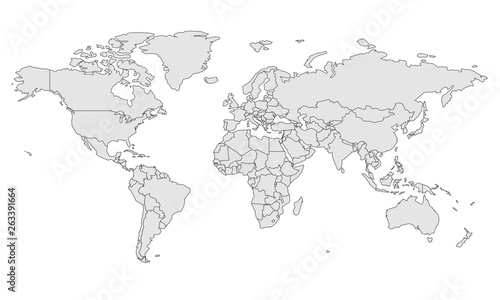 map template for web site pattern, infographics. Globe similar world map icon. Travel worldwide, map silhouette backdrop. #263391664