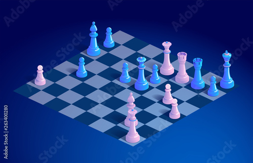 Cuadros en Lienzo Chessboard with chess pieces