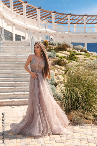 Canvastavla beautiful woman with long dark hair in luxurious evening dress