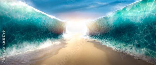 Obraz na plátně parting the red sea concept, photo composite