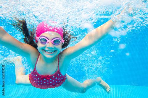 Vászonkép girl swim in  pool