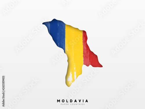Wallpaper Mural Moldavia detailed map with flag of country