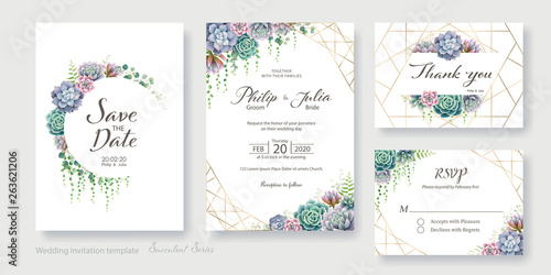 Obraz na plátne Greenery, succulent and branches Wedding Invitation card, save the date, thank you, rsvp template