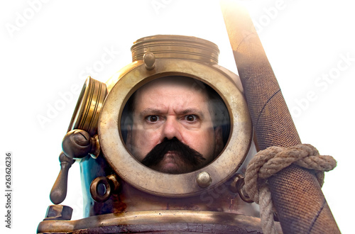 Carta da parati Portrait of man in old diving suit and helmet, isolated on white background