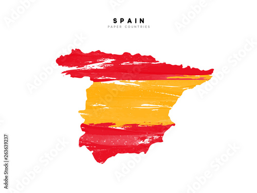 Wallpaper Mural Spain detailed map with flag of country