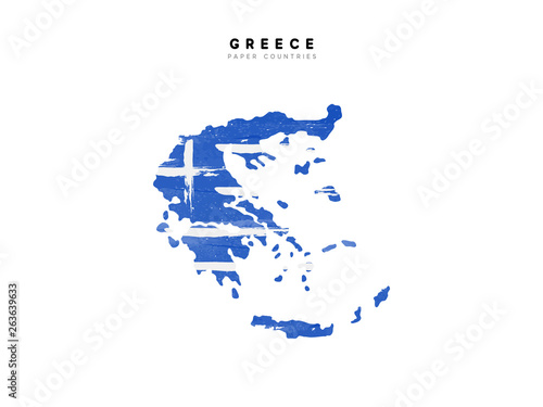 Canvas Print Greece detailed map with flag of country