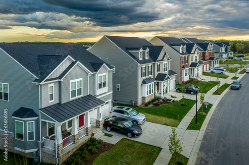 Obraz na plátně Aerial view of typical American new construction neighborhood street in Maryland