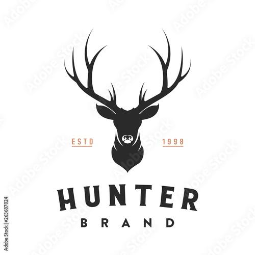 Fotografia vintage deer head logo illustration