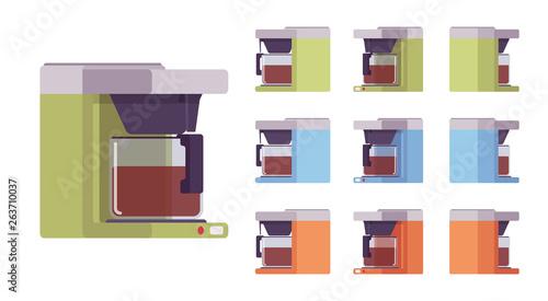 Fotografía Coffee machine set, kitchen and cafe equipment
