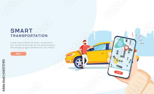 Fotografiet Smart city transportation vector illustration concept, Online car sharing with c