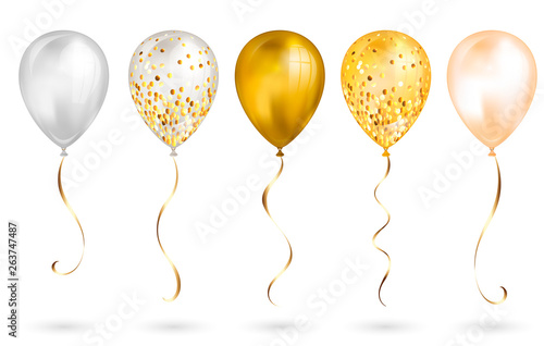 Fotografiet Set of 5 shiny gold realistic 3D helium balloons for your design