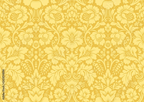Fototapeta Vector seamless damask gold patterns