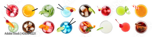 Set of different delicious cocktails on white background, top view