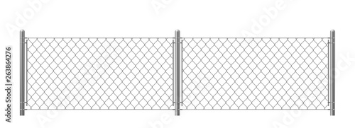 Tablou Canvas Wire fence isolated on white background
