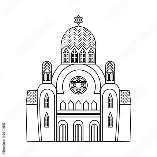Fotografie, Obraz Vector design of synagogue and jewish logo