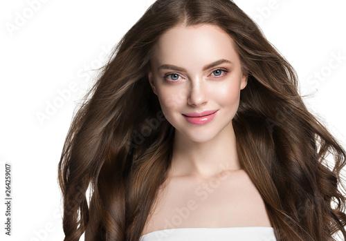 Fototapeta Beauty face healthy skin woman brunette healthy hair female model isolated on wh