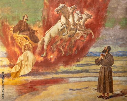 Fotografie, Obraz CATANIA, ITALY - APRIL 7, 2018: The fresco Prophet Elias ascending into Heaven in the chariot of fire in church Santuario della Madonna del Carmine by  Natale Attanasio (1898)