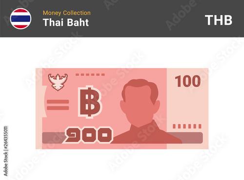 Fotografia, Obraz Thai baht 100 banknone