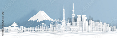 Canvas Print Panorama view of Tokyo city skyline with world famous landmarks of Japan in paper cut style vector illustration