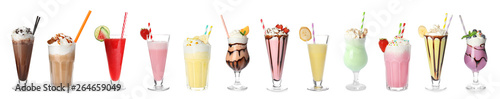 Photo Set of different delicious cocktails on white background