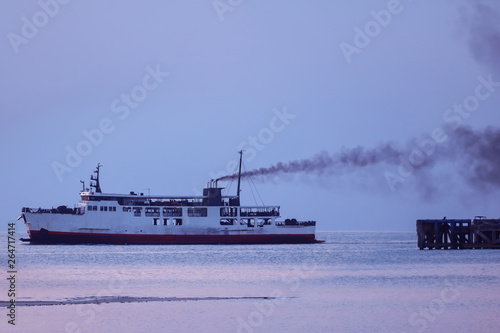Canvas Print Ferry with smoke coming from stack ,Diesel engine ready to leaving from the harb