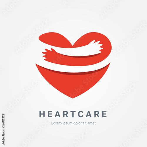 Obraz na plátne Red heart with hand embrace