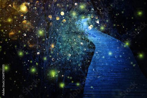 Abstrakcyjny i magiczny obraz Firefly lecącego w nocnym lesie. Koncepcja bajki