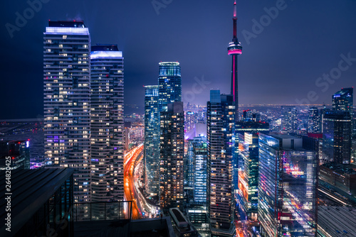 Canvas Print Entire futuristic city skyline view of downtown Toronto Canada