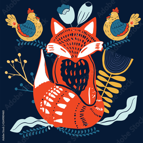 Fototapeta Scandinaviat folk art with fox, nordic style blockprint imitation vector