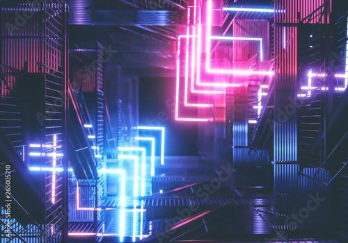 Stampa su Tela Neon background. Cyberpunk electronic night background concept.