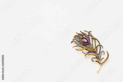 Obraz na płótnie Brooch in the shape of peacock feather on white background