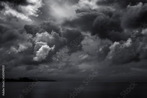 Fototapeta dark clouds for black stormy weather background